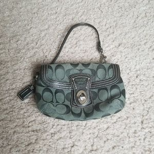 COACH Green Jacquard Legacy Signature Flap